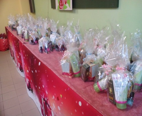 Pamper packs distributed on the day